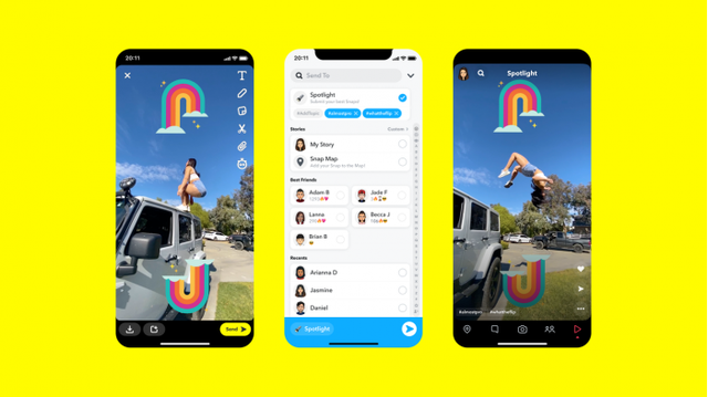 Snapchat推出Spotlight的新功能,和tiktok类似